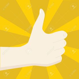 Illustration of a hand making a positive sign, ie. with the thumb up